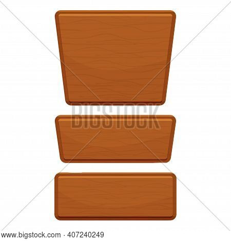 Wooden Button Set, Wood Textured Interface Assets Isolated On White Background. Empty Frame, Plank F