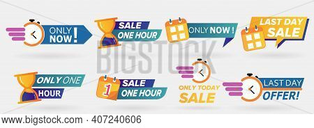 Sale Countdown Badges. Only Now, 1 Day Offer, One Day Sale Last Hour Offer. Logos, Signs, Stickers,
