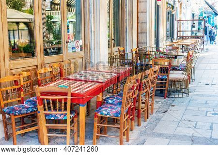 ATHENS, GREECE - February 29, 2022: Restaurants in Athens, Greece