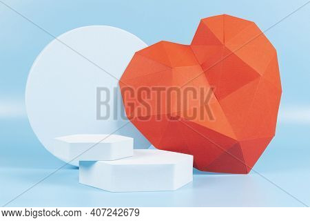 Abstract Composition With Geometric Shapes Forms And Polygonal Heart. Cerulean Podium, Platform For