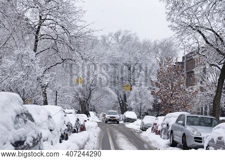Brooklyn, Ny - February 7 2021: Winter Scene With Snow Covered Cars Parked Along Streets In Brooklyn