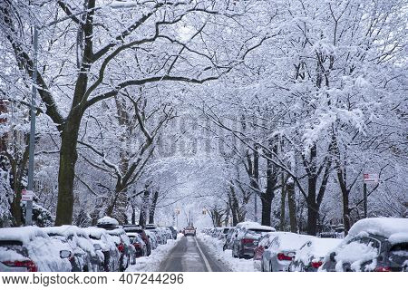 Winter Scene With Snow Covered Cars Parked Along Streets In Brooklyn, Ny. Brownstones In Winter Seas