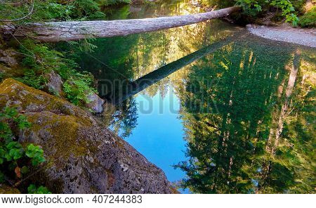 River Reflections - A Summer Scene Along The Little North Santiam River - Cascade Range - East Of Me