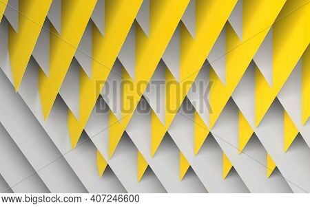 Abstract Geometric Background. Intersected Yellow And White Paper Sheets Pattern. 3d Rendering Illus