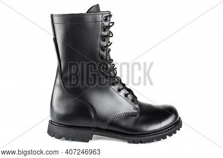 Side View Of Black Leather 10-inch New Black Military Combat Boot, Isolated On White Background
