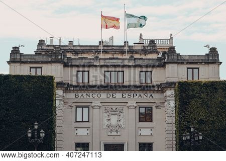 Seville, Spain - January 19, 2020: Facade Of Banco De Espana In Seville, The Capital Of Andalusia Re
