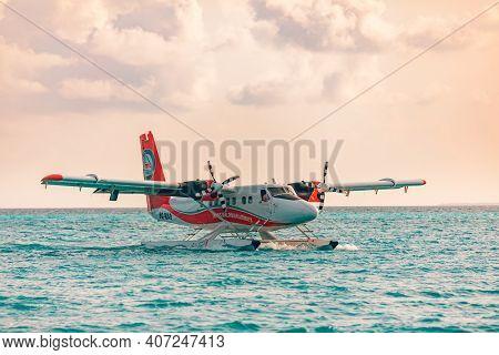 South Ari Atoll, Dhidhoofinolhu, Maldives - December 15 2018: Maldives Airline Seaplane Near Tropica