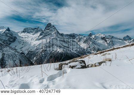 Dombai Mountains In Winter Landscape. Republic Of Karachay-cherkessia, Caucasus, Russia.
