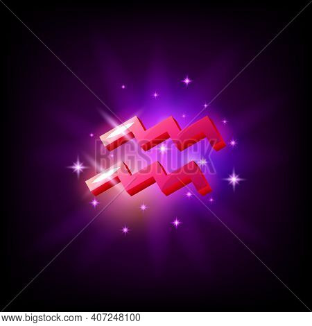 Aquarius Constellation Icon In Space Style On Dark Background With Galaxy And Stars. Zodiac Sign Of