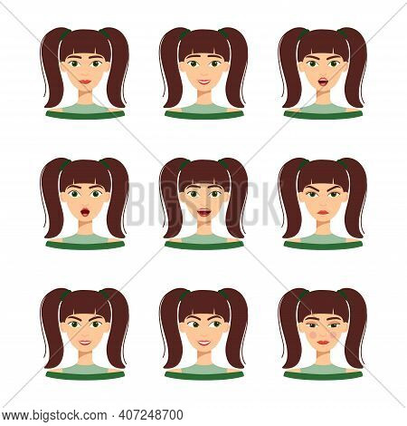 Set Of Emotions Of Beautiful Girl With Dark Hair. Set Of Different Female Emotions, Vector Illustrat