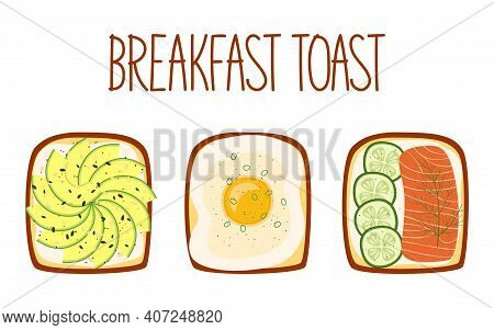 Set Of Toasts For Breakfast With Different Fillings. Toasts With Avocado, Egg, Salmon And Cucumber.