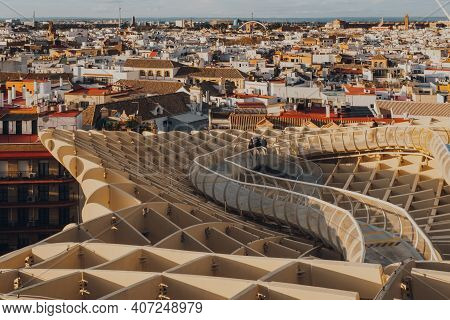 Seville, Spain - January 19, 2020: Seville Rooftops And Walkway On Top Of Metropol Parasol, The Larg