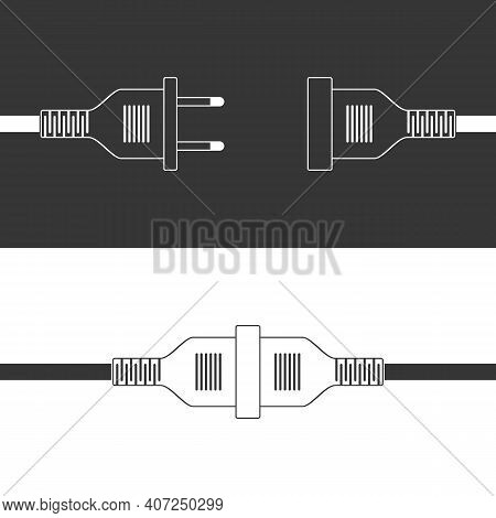 Electric Plug And Socket Vector Illustration In Flat Design. Concept Connection, Connection, Disconn