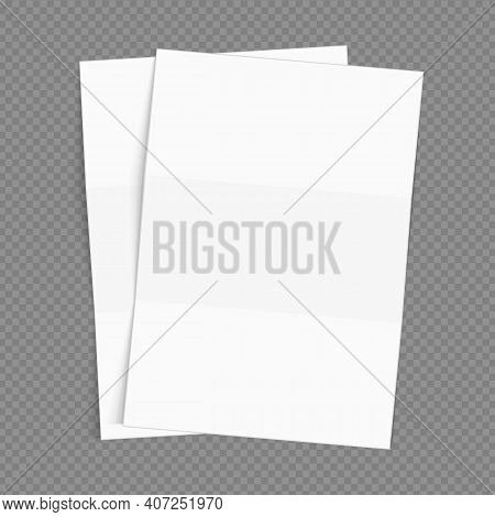 Blank Flyer Poster. Vector White Blank Office Paper Mockup Isolated On Transparent Background. Folde