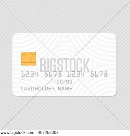 Credit Card Realistic Mockup. Clear Plastic Card Template On Transparent Background. Business And Fi