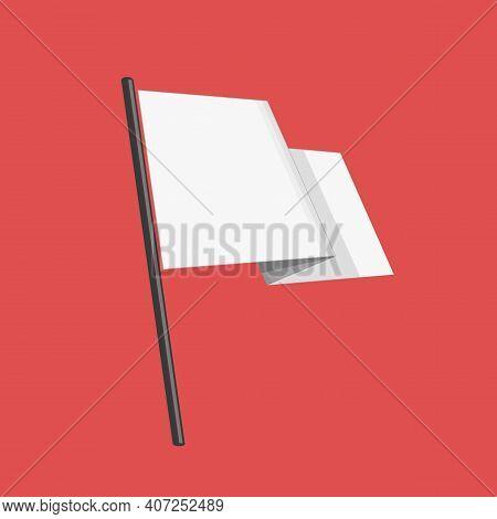 White Flag Of Surrender, Blank Flag. Flat Style Vector Illustration. Surrender Concept.
