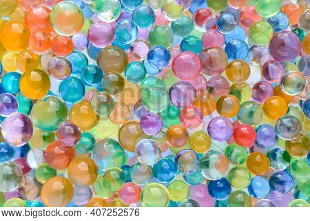 Abstract Multicolored Bright Background With Hydrogel Beads Texture