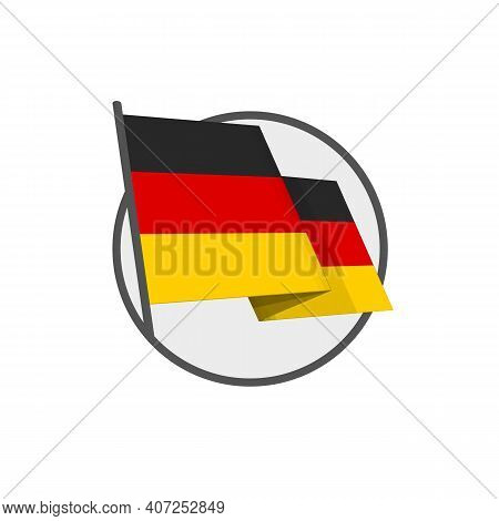 Deutschland National Flag On Isolated White Background. Waving German Flag In Flat Style.