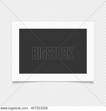 Single Blank Photo Frame With Shadow Effects, Isolated On Transparent Background. Vintage Photo Fram