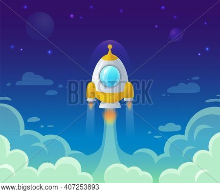 Rocket Launch On Space. Business Start Up Idea. Spaceship Flying In Sky, Cosmos Exploration And Gala