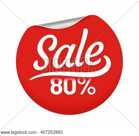 Sale 80 Percent For Customers Circle Badge. Retail Red Round Sticker With Corner Curl For Shopping I