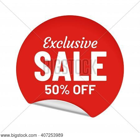 Exclusive Sale 50 Percent Off, Round Sticker With Message. Shopping Offer For Customer. Best Pricing