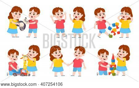 Brother And Sister Fight. Cartoon Siblings Angry, Quarrel And Cry. Kids Fighting Over A Toy, Playing