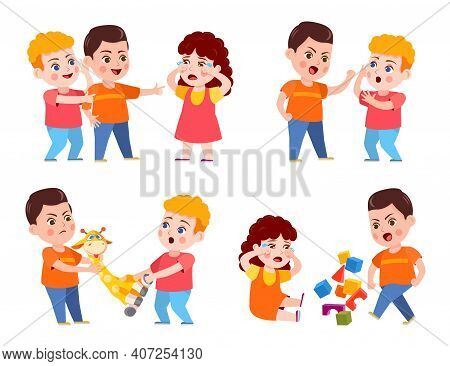 Bully Child. Cartoon Bad Kid Fight And Mock Crying Girl. Verbal And Physical Bullying. Problem Behav