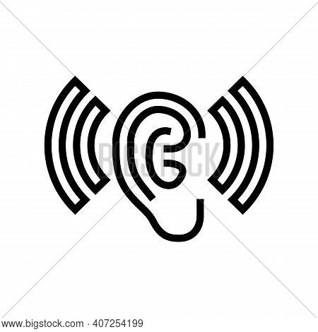 Listening And Hearing Noise Line Icon Vector. Listening And Hearing Noise Sign. Isolated Contour Sym