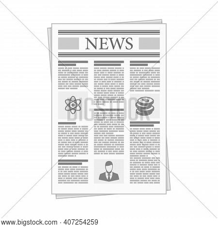 Folded Newspaper News In Flat Design Style. Business News With Articles And Graph, Isolated On White
