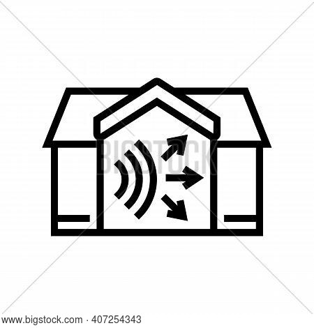 House Acoustic Line Icon Vector. House Acoustic Sign. Isolated Contour Symbol Black Illustration