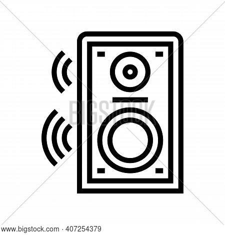 Dynamic Speaker Line Icon Vector. Dynamic Speaker Sign. Isolated Contour Symbol Black Illustration