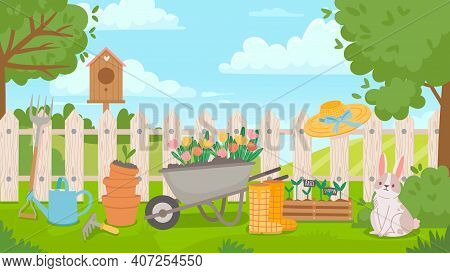Garden Landscape With Tools. Cartoon Spring Poster With Yard And Fence, Wheelbarrow, Flowers, Seedli