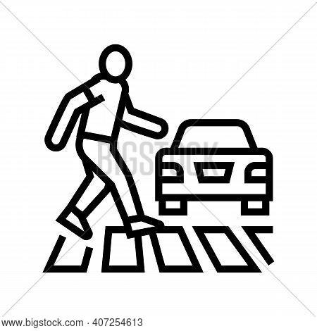 Human Crossing Road On Crosswalk Line Icon Vector. Human Crossing Road On Crosswalk Sign. Isolated C