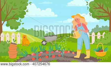 Woman Watering Garden. Female Gardener Works, Farming, Grows Vegetables And Waters Tomato. Agricultu