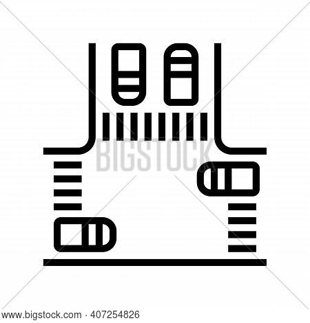 Crossroads With Cars Line Icon Vector. Crossroads With Cars Sign. Isolated Contour Symbol Black Illu