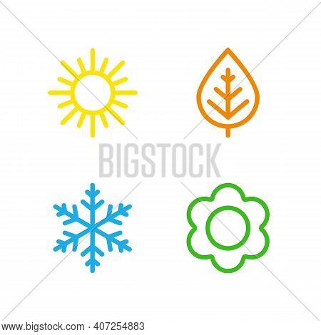 A Set Of Colorful Icons Of Seasons. The Seasons - Winter, Spring, Summer And Autumn. Weather Forecas