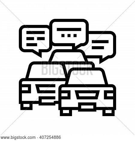 Drivers Communication In Traffic Jam Line Icon Vector. Drivers Communication In Traffic Jam Sign. Is