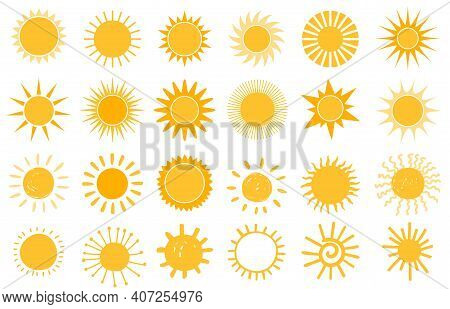 Cartoon Sun Icon. Flat And Hand Drawn Summer Symbols. Sunshine Shape Logo. Morning Sun Silhouettes A