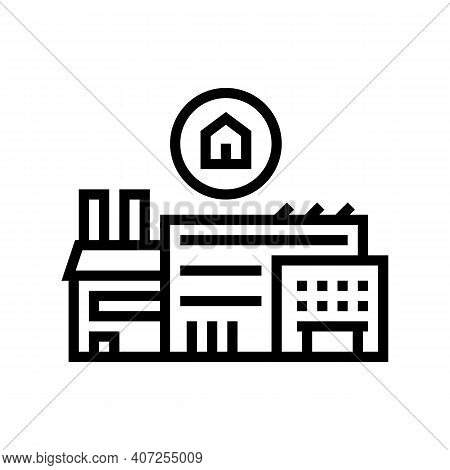 Timber Factory Line Icon Vector. Timber Factory Sign. Isolated Contour Symbol Black Illustration