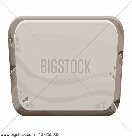 Stone Board, Boulder In Cartoon Style With Cracked Elements Isolated On White Background Empty Frame