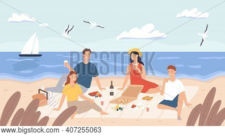 Picnic At Beach. Group Of Friends Chill And Eat Food On Sea Shore. Happy Men And Women Have Lunch Ou