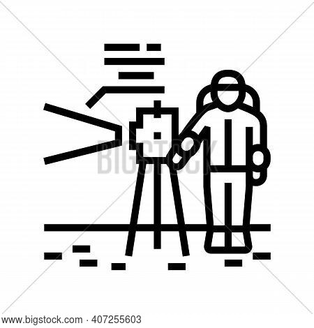 Astronaut Working With Measuring Equipment Line Icon Vector. Astronaut Working With Measuring Equipm