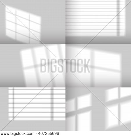 Window Shadows. Realistic Overlay Shadow Effect From Jalousie. Natural Sunlight From Windows On Wall