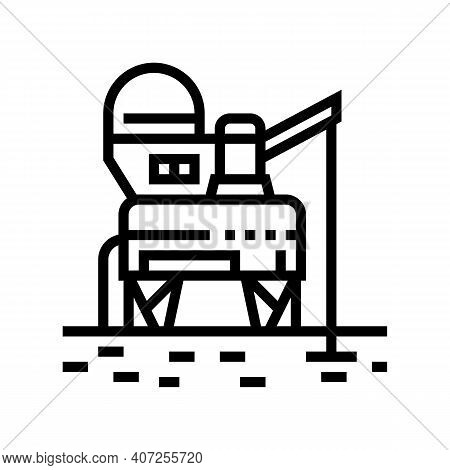 Space Base Construction Line Icon Vector. Space Base Construction Sign. Isolated Contour Symbol Blac