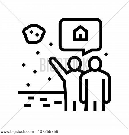Human Showing Space House In Sky Line Icon Vector. Human Showing Space House In Sky Sign. Isolated C