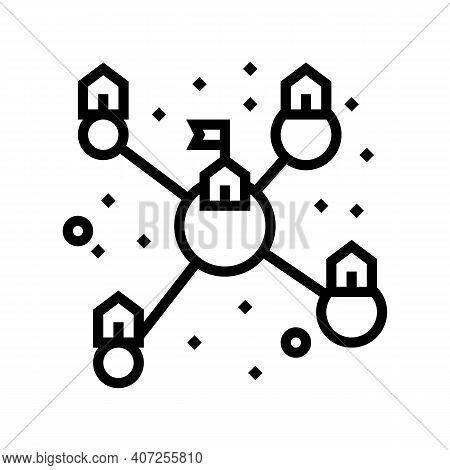 Planets Colonization And Transport Communication Line Icon Vector. Planets Colonization And Transpor