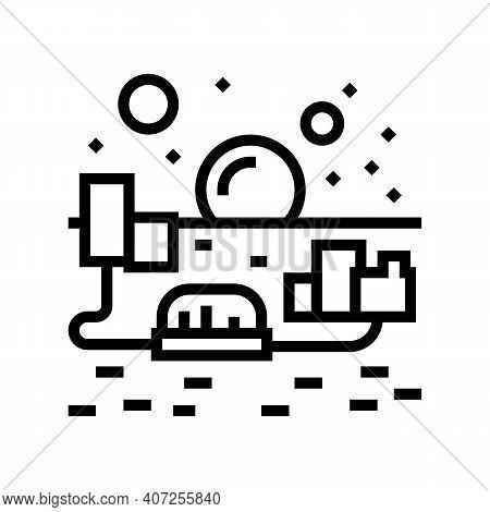 City On Mars Line Icon Vector. City On Mars Sign. Isolated Contour Symbol Black Illustration