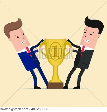 Two Businessmen Fighting Each Other For Winning Award. Angry Competing Office Workers Pulling Golden