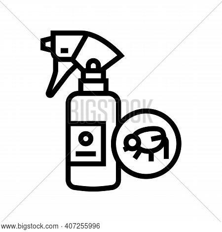 Flea Spray Line Icon Vector. Flea Spray Sign. Isolated Contour Symbol Black Illustration